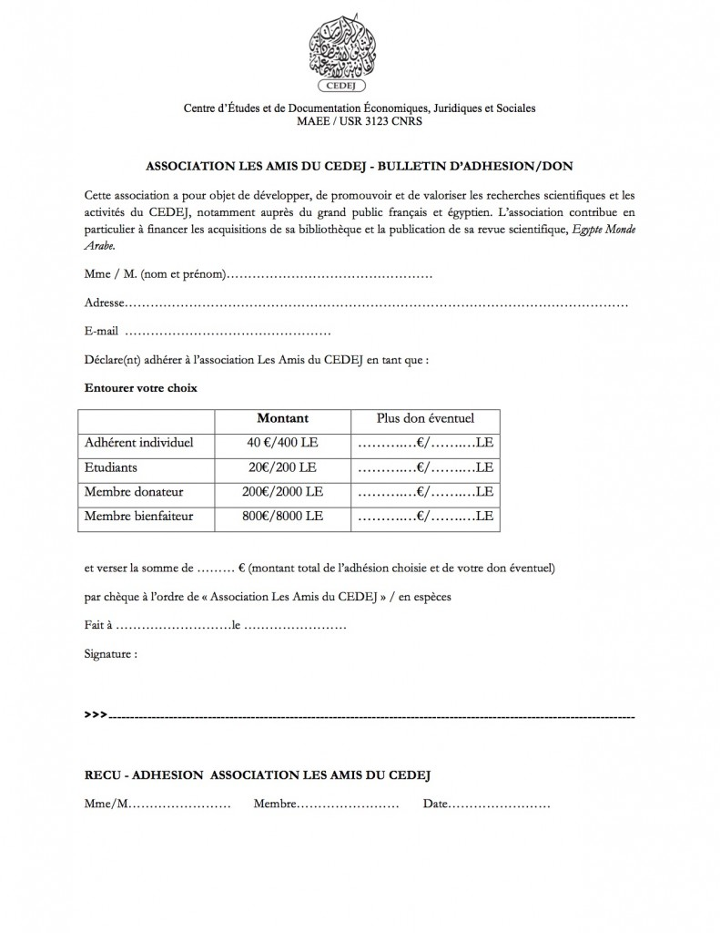Bulletin adhésion les Amis du CEDEJ